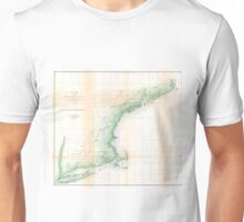 Vintage Coastal Map of New England (1864) Unisex T-Shirt
