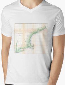 Vintage Coastal Map of New England (1864) Mens V-Neck T-Shirt
