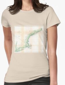 Vintage Coastal Map of New England (1864) Womens Fitted T-Shirt