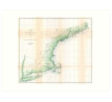 Vintage Coastal Map of New England (1864) Art Print