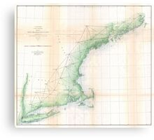 Vintage Coastal Map of New England (1864) Canvas Print