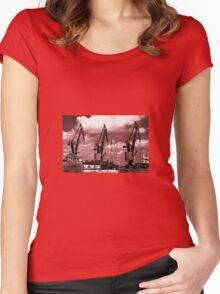 Gdansk Cranes in red  Women's Fitted Scoop T-Shirt