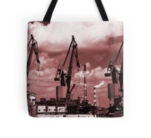 Gdansk Cranes in red  Tote Bag