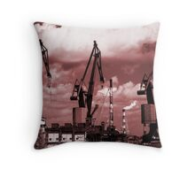 Gdansk Cranes in red  Throw Pillow