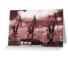 Gdansk Cranes in red  Greeting Card