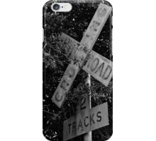 Railroad Crossing BW iPhone Case/Skin