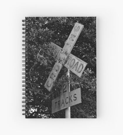 Railroad Crossing BW Spiral Notebook
