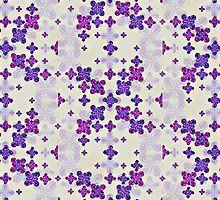 Deluxe Ornate Pattern Design in Blue and Fuchsia Colors by DFLC Prints