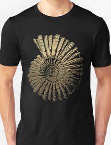 Fossil Record - Golden Ammonite on Black Unisex T-Shirt