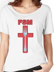 Flying Spaghetti Monster crucified fork Women's Relaxed Fit T-Shirt