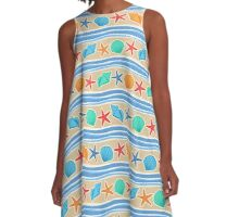 Sand And Blue Colorful Shells Pattern A-Line Dress