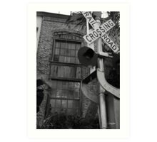 Railroad Crossing and Building Art Print