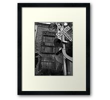 Railroad Crossing and Building Framed Print