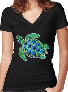 Psychedelic sea turtle in acrylic Women's Fitted V-Neck T-Shirt