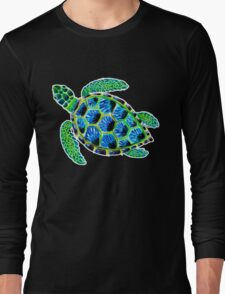 Psychedelic sea turtle in acrylic Long Sleeve T-Shirt