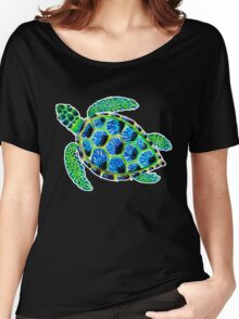 Psychedelic sea turtle in acrylic Women's Relaxed Fit T-Shirt