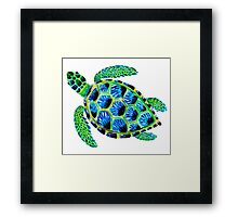 Psychedelic sea turtle in acrylic Framed Print