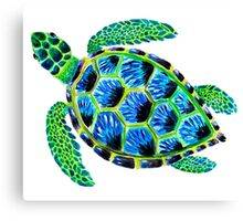 Psychedelic sea turtle in acrylic Canvas Print