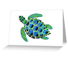 Psychedelic sea turtle in acrylic Greeting Card