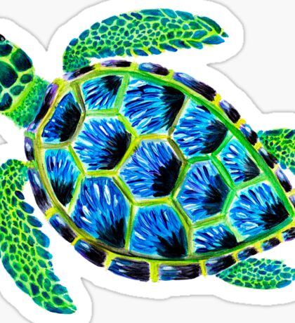 Psychedelic sea turtle in acrylic Sticker