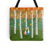 Cats - Forest - Birch Trees - Fall Tote Bag