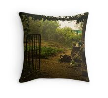 Misty Morning in the Vegetable Garden Throw Pillow