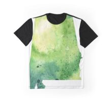 Watercolor Map of Alabama, USA in Green - Giclee Print My Own Watercolor Painting Graphic T-Shirt