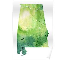 Watercolor Map of Alabama, USA in Green - Giclee Print My Own Watercolor Painting Poster