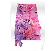 Watercolor Map of Alabama, USA in Pink and Purple - Giclee Print of My Own Watercolor Painting Poster