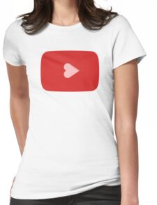 YouTube Heart Button Womens Fitted T-Shirt