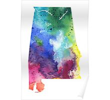 Watercolor Map of Alabama, USA in Rainbow Colors - Giclee Print of My Own Watercolor Painting Poster