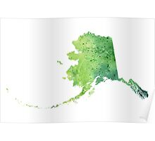 Watercolor Map of Alaska, USA in Green - Giclee Print My Own Watercolor Painting Poster