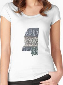 Vintage Mississippi License Plates Women's Fitted Scoop T-Shirt