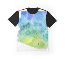 Watercolor Map of Arizona, USA in Blue and Green - Giclee Print of My Own Watercolor Painting Graphic T-Shirt