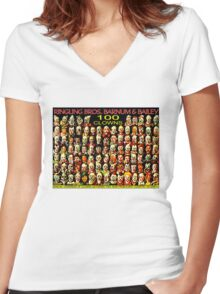''CLOWNS CONFERENCE'' Vintage Circus Poster Print Women's Fitted V-Neck T-Shirt