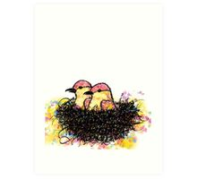 Two chicks in a nest Art Print