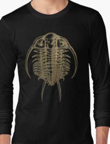 Fossil Record - Golden Trilobite on Black #2 Long Sleeve T-Shirt
