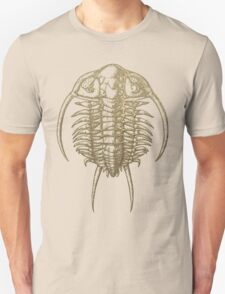 Fossil Record - Golden Trilobite on Black #2 Unisex T-Shirt