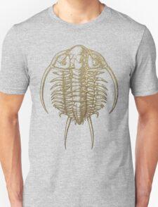 Fossil Record - Golden Trilobite on Black #2 Unisex T-Shirt