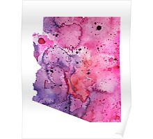 Watercolor Map of Arizona, USA in Pink and Purple - Giclee Print of My Own Watercolor Painting Poster