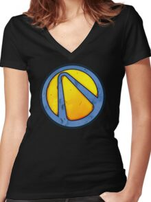 Borderlands 3 - Blue and Yellow Moon Vault Symbol/Logo Women's Fitted V-Neck T-Shirt
