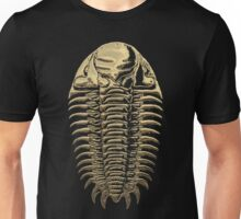 Fossil Record - Golden Trilobite on Black #3 Unisex T-Shirt