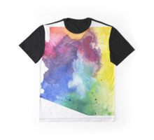 Watercolor Map of Arizona, USA in Rainbow Colors - Giclee Print of My Own Watercolor Painting Graphic T-Shirt