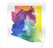 Watercolor Map of Arizona, USA in Rainbow Colors - Giclee Print of My Own Watercolor Painting Poster