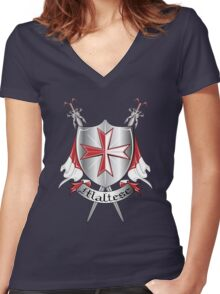 maltese Women's Fitted V-Neck T-Shirt