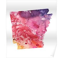 Watercolor Map of Arkansas, USA in Orange, Red and Purple - Giclee Print  Poster