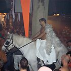 Rave Cowboy Angel on White Horse by michel bazinet