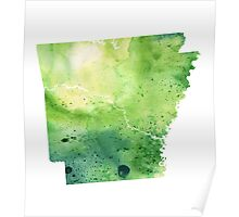Watercolor Map of Arkansas, USA in Green - Giclee Print My Own Watercolor Painting Poster