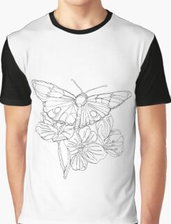Butterflies and Flowers Continuous Line Drawing Graphic T-Shirt
