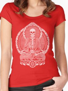 Skeleton Buddha White Halftone Women's Fitted Scoop T-Shirt